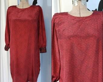 Totally Tubular Womens 80s Berry Wine Abstract Print Tunic Dress Handmade Modern Size Large Golden Girls Chic