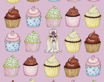 Cupcakes Shih Tzu Print 11 x 14 inches // Dog Lover // Spring Summer Birthday Gift // Food