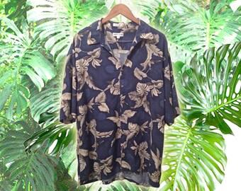 90s Men's Blue Tropical Hawaiian Rayon Oversize Unisex Short Sleeve Summer Shirt size XXL