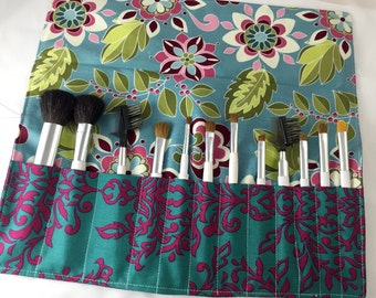 Blue Makeup Brush Roll - Makeup Brush Organizer - Make Up Brush Holder - Riley Blake Botanique Teal Damask