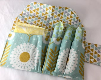 Privacy Pouch - Tampon Case - Sanitary Pad Case - Pad Pouch - Tampon Bag - Tampon Holder -  Joel Dewberry Wander Prairie Bloom in Maize Blue