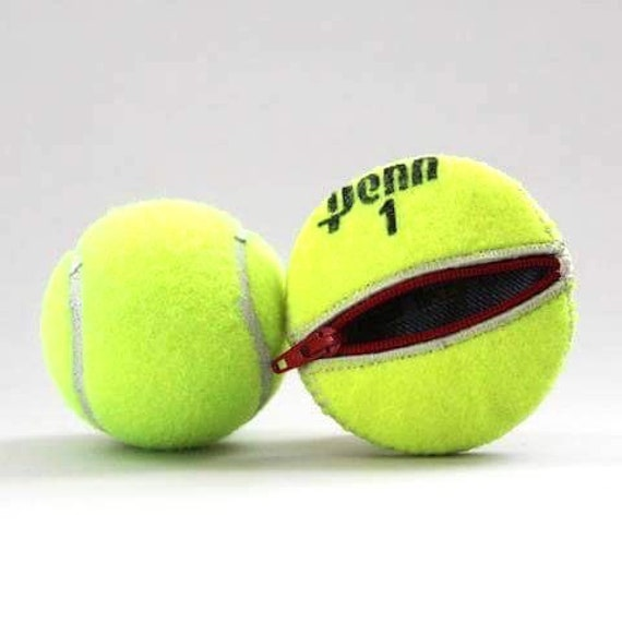 Handmade Recycled Tennis Ball Round/Compact Change Holder with Zipper