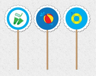10 piece Pool Party, Lake, Summer, Cupcake Toppers, Goggles, Floatie, Beach Ball, Inner Tube