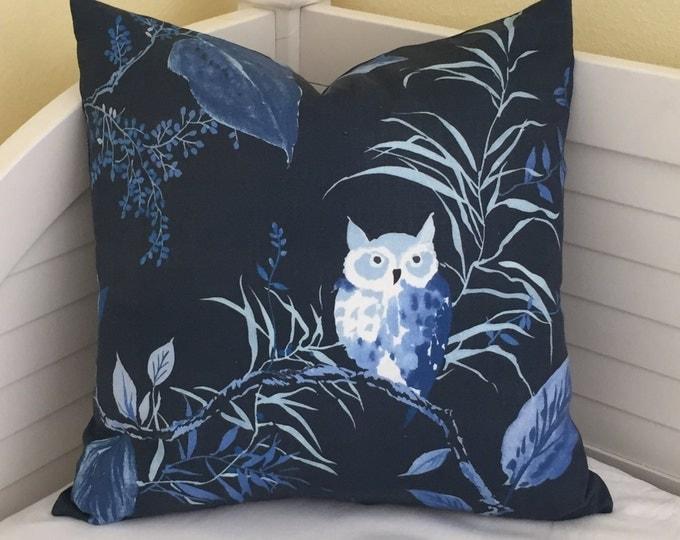 Kravet Owl in Navy Designer Pillow Cover - Square and Euro Sizes