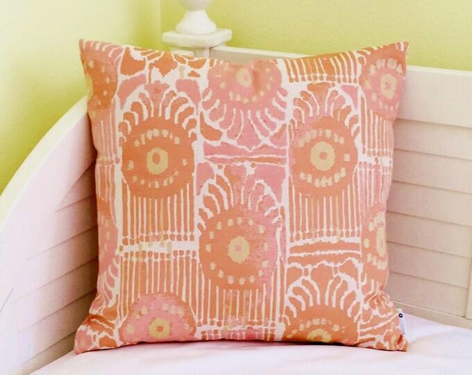 FLASH SALE - Perennials Bazaar in Melon Indoor Outdoor Designer Pillow Cover -20x20