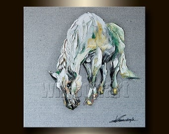 Horse Modern Animal Oil Painting Horse Portrait Textured Palette Knife Original Art 16X16 by Willson Lau