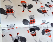 ON SALE End of Bolt-Burly Beavers Flannel Collection, Flannel Cotton, Hipster fabric, Grey Fabric, Boy Fabric, Robert Kaufman Fabrics