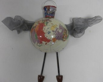 Wonky Bucket List flying Globe Wall Art Mixed mediaSculpture
