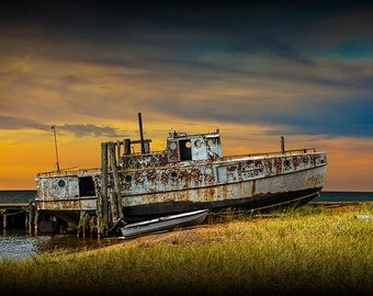 Rusted Fishing Boat at Sunset On Lake Huron near Whitefish Point in the Upper Peninsula of Michigan No.0828 A Nautical Seascape Photograph