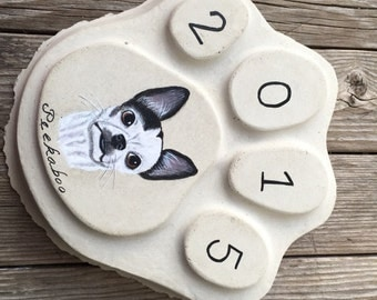 Concrete Custom Painted Memorial Stepping Stone Beloved Pet Garden