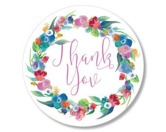 Wedding Sticker, Wedding Favor Sticker, Wedding Thank You Sticker, Watercolor Sticker, Flower Sticker, Wedding Flower Sticker
