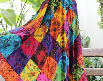 Floral Print Thai Soft Cotton Patchwork Boho Skirt - elastic waist OM1610-06