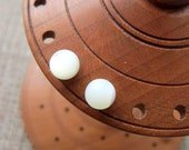 Mother of Pearl Sterling silver stud earrings - studs 6mm creamy white ball posts