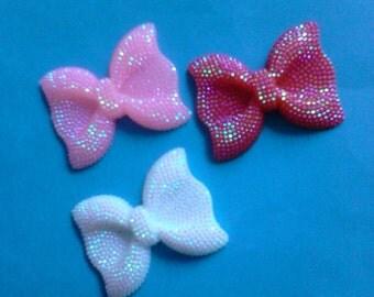 Kawaii big rhinestone bow decoden deco diy charm cabochons   3 pcs---USA seller