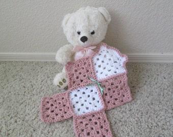 Crochet teddy bear lovey, mini blanket, travel blanket, choose your colors