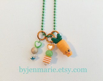 Shopkin carrot charm necklace