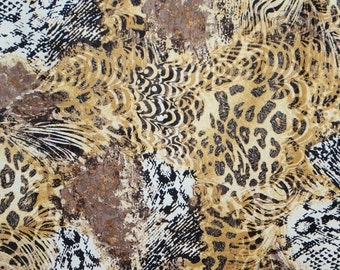 ON SALE Tan and Brown and Black Muted Animal Print Pure Cotton Fabric from Timeless Treasures--One Yard