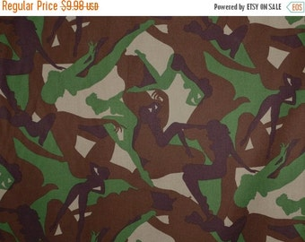 ON SALE Brown and Green Camoflage Print Pure Cotton Fabric--One Yard