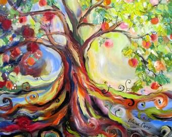Whimsical Peach Tree 24 x 24 Art by Elaine Cory