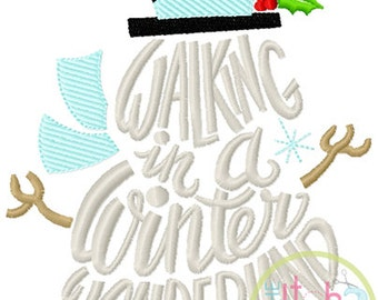Walking in a Wonderland Snowman Embroidery in 4x4, 5x7 & 6x10 INSTANT DOWNLOAD now available
