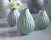 Pottery Vase - Striped Seafoam Ceramic Vase