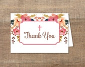 Christian Thank You Card, Watercolor Floral Baptism, Dedication Thank You, DIY Printable, INSTANT DOWNLOAD