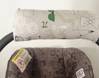 Infant Car Seat Handle Cover - Car Seat ARM PAD - Reversible - Geek and Green White Dots