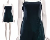 Vintage 90s Black RUFFLE SILK ROMPER Asymmetric Ruffle Jumpsuit Strappy Short Romper Medium