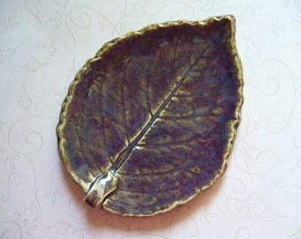 Blackberry Sage Pottery Leaf Spoon Rest