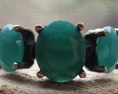 Vintage Sterling Silver and Bronze Ladies Ring with Emerald Gemstones Size 9 Women's Ring