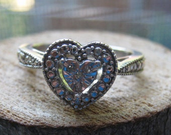 Vintage Sterling Silver and Cubic Zirconium Women's Heart Shape Ring Size 7 Very Nice