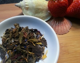Luscious St. Lucia, Strawberry Guava Green Gourmet Loose Leaf Blended Tea