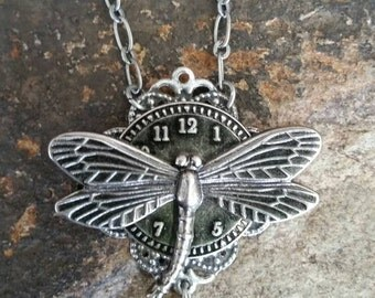 Steampunk Inspired Filigree Dragonfly Necklace With Rhinestone And Clock Face