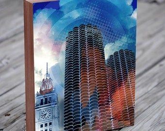 Chicago Architecture Collage - Marina City - Chicago Wall Art - Chicago Print