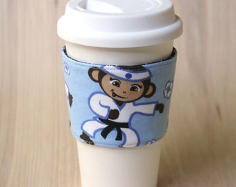 Reversible Coffee Cup Sleeve - Karate Monkey Coffee Cozy - Ready to Ship