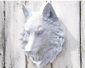 White Wolf Head // Wolf Decor // Choice Color // Native American Decor // Wolf Wall Sculpture // Faux Animal Head // Faux Taxidermy