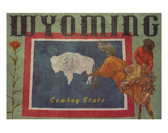 WYOMING 1F- Personalized Leather Journal Cover Moleskine Field Notes Custom