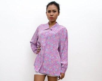 ON SALE Vintage 90s Shirt/90s Blouse/Oversized Lavender Purple Dot Print Long Sleeve Shirt, Large