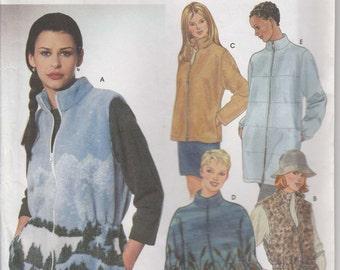 Fleece Jacket Pattern Zipper Vest 2 lengths Size XS, S, M 6 - 16 uncut Simplicity 9409
