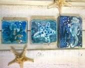 Original Painting Seascape Art Block Set of 3 Seahorse Starfish Coral Beach House Decor by CastawaysHall - Ready to Ship
