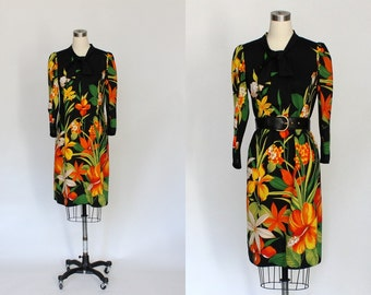 1970s Necktie Dress // 70s Vintage Black Floral Knit Day Dress // Medium - Large
