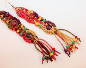 Colorful hemp earrings with agate beads and amethyst beads, macrame, dangle, hippie, music festivals, festie jewelry