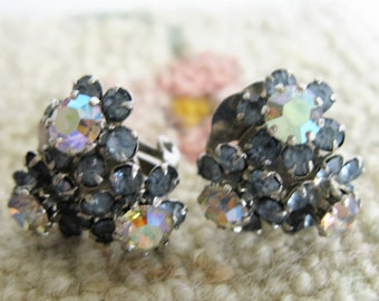 1960s TRIAD Clip On Earrings Light Blue AB Rhinestone 60s Floral Cluster Signed Earrings