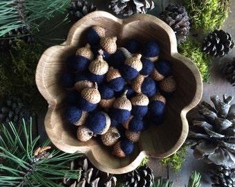 Felted wool acorns, Midnight Blue, set of 50, blue wedding favors, woodland wedding decor, autumn bowl filler, fall wedding favors