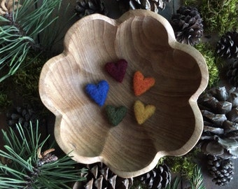 Felted wool hearts, set of 5, Deep Rainbow, Waldorf color sorting set, montessori valentine, montessori valentine, rainbow felt hearts