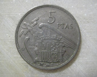Spain 1957 Coin, 5 Pesetas - Francisco Franco, Coat of Arms Spain, Francoist Eagle