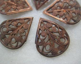 Vintage Brass Filigree Petal Drops: Filigree Brass Petal Shaped Drops, Earring Stampings, Jewelry Findings, Jewelry Supply, 15x18mm, 6 pcs.