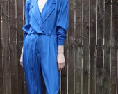Vintage 1980's Blue Deep V Sailors Jumpsuit