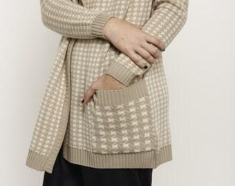 Knit cardigan, long sleeve sweater, Cream jacket, winter knitwear, Beige women cardigan, double breasted knitted sweater
