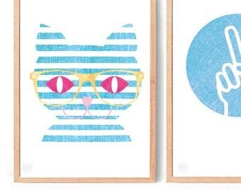 Cat Art Print (free Aus shipping)